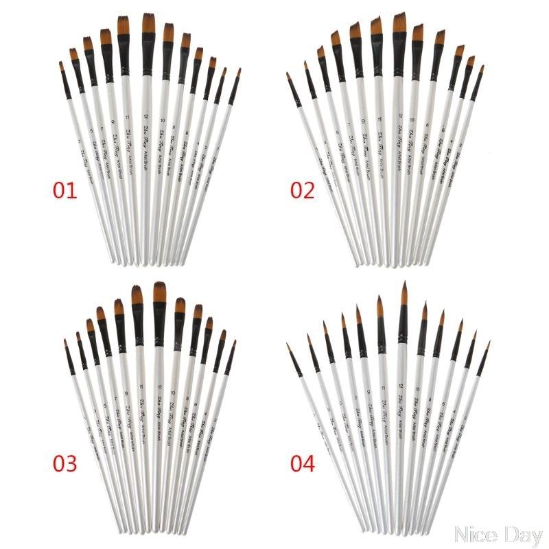 12Pcs 12Pcs Artist Paint Brush Set Nylon Bristles Watercolor Acrylic Oil Painting Slant Flat Round Pointed Pen Tip Wood Handle