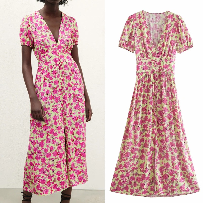 TRAF Za 2021 الأزهار فستان طويل المرأة الوردي ميدي فستان صيفي امرأة خمر Ruched شق قصيرة نفخة الأكمام فساتين السيدات أنيقة
