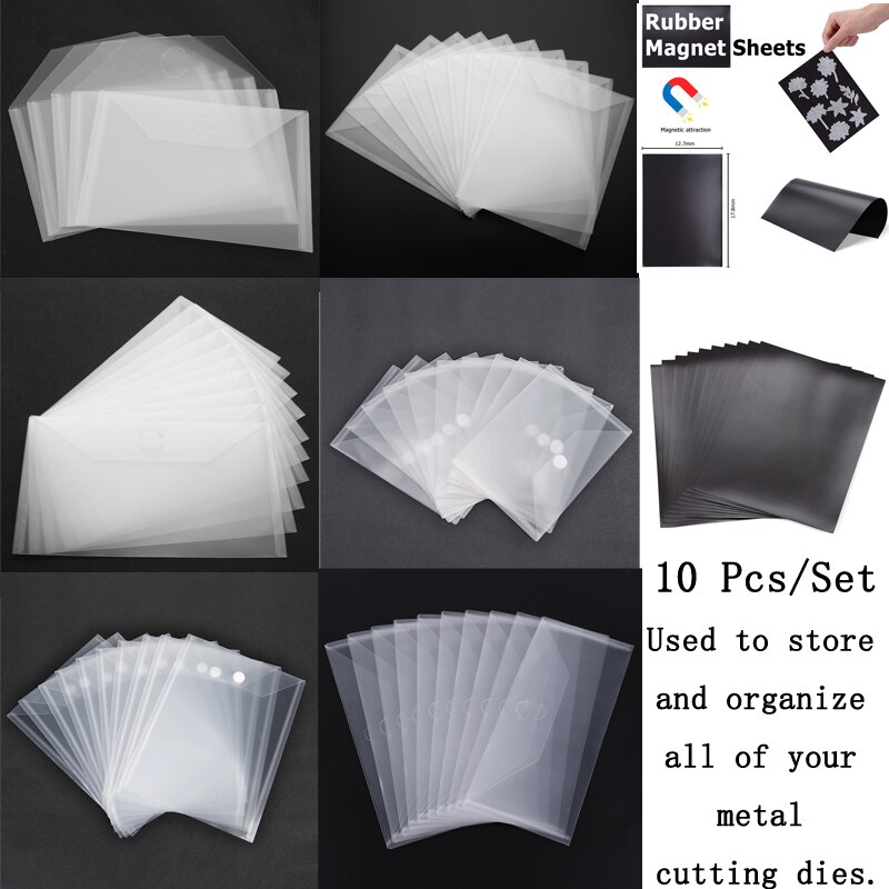 10-Piece Set Transparent Portable Storage Bag Used To Store Organize All of Your Metal Cutting Dies Clear Stamp Plastic Stencil