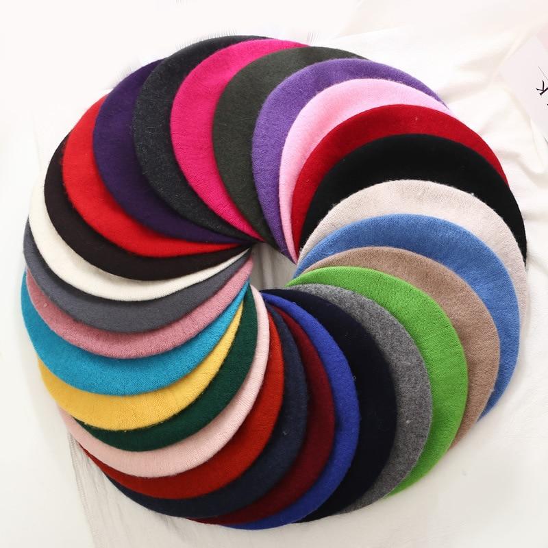 Senhora primavera inverno boinas chapéu pintor estilo chapéu feminino lã vintage boinas cor sólida bonnet feminino quente andando boné