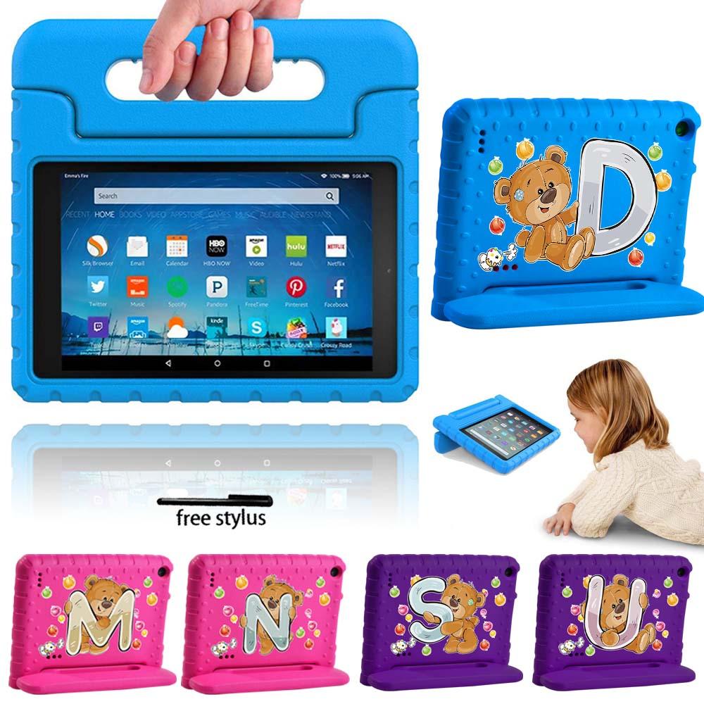 Caso da tabuleta para amazon fire 7 5th/7th/9th gen crianças tablet à mão à prova de choque eva capa de silicone seguro + stylus livre
