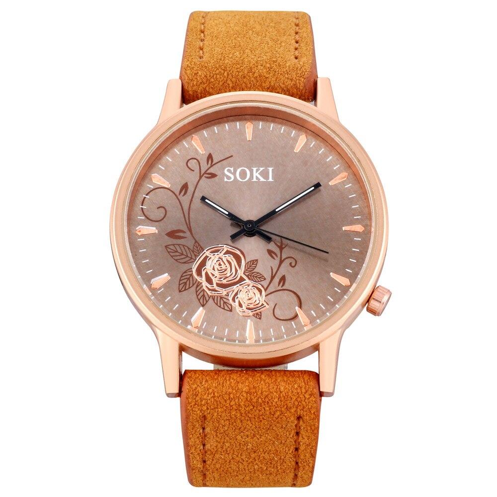 Woman Fashion Leather Band Analog Quartz Round Wrist Watch Flower Print Charming Mujer Watches Clock