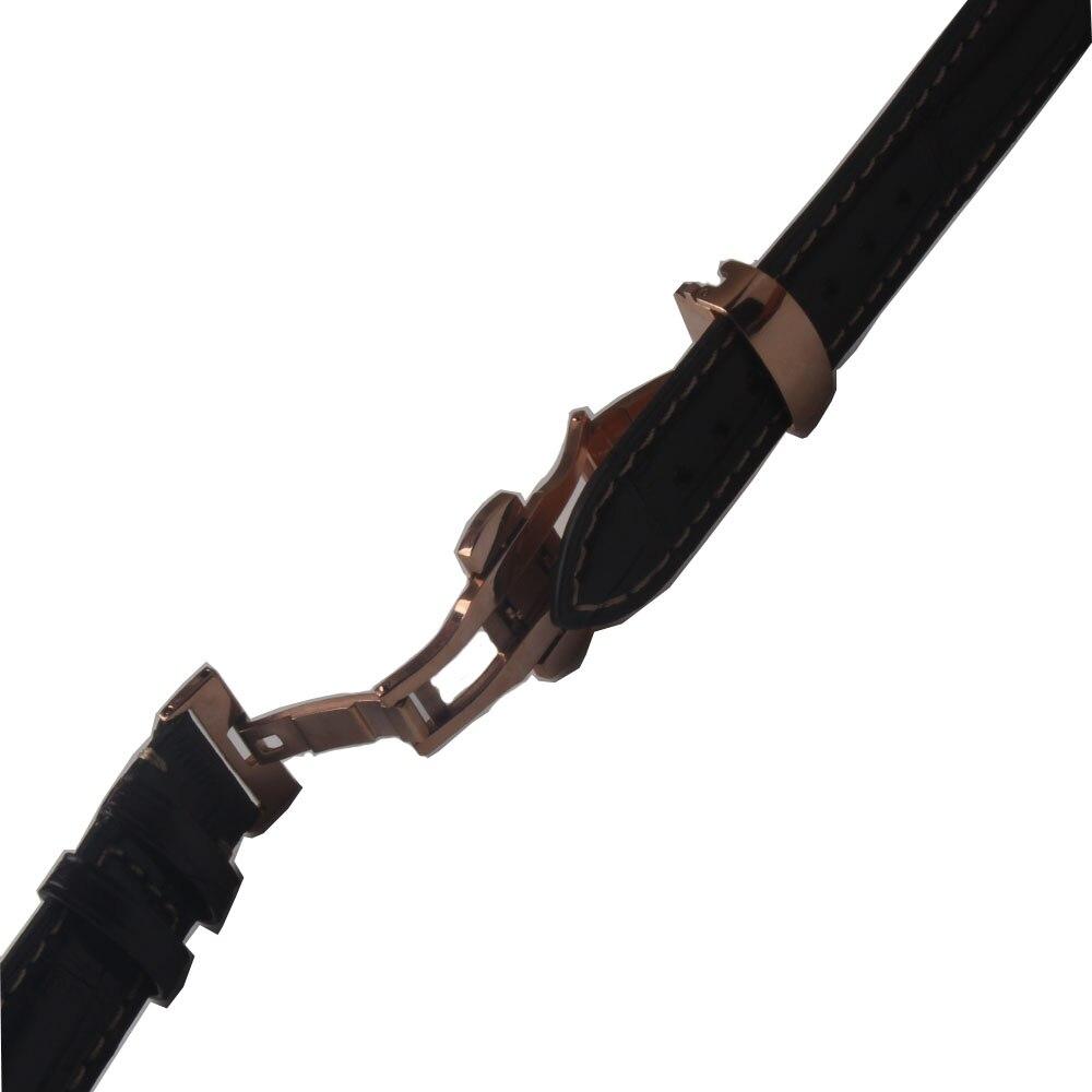 Couro de Crocodilo Relógio de Pulso Jacaré com Grão Alta Qualidade Acessórios Marrom Escuro Couro Bambu 18 19 20mm Masculinos