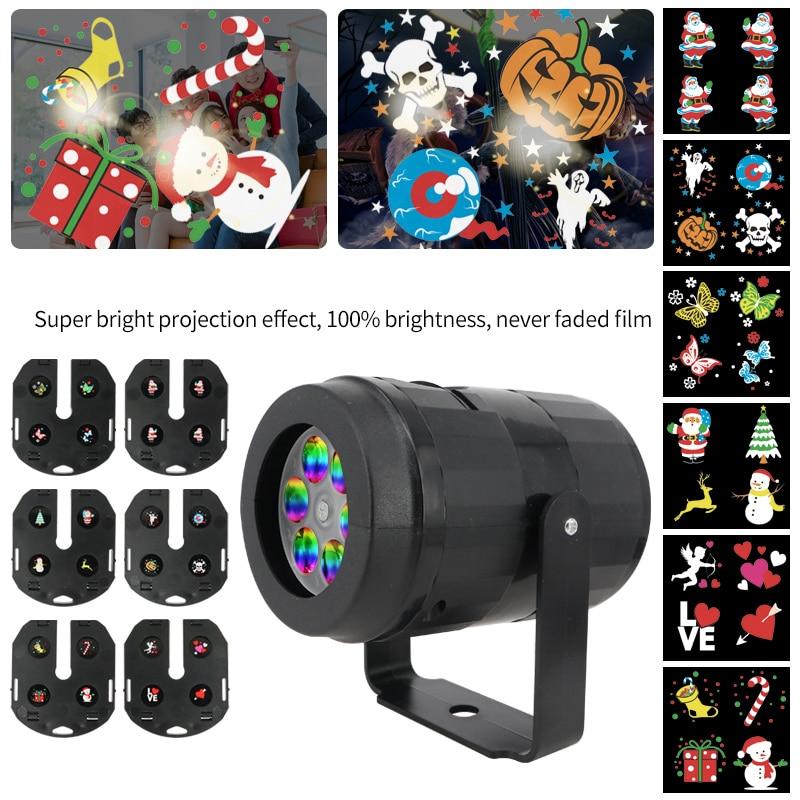 Proyector LED de dibujos animados de Navidad y Halloween con 6 tarjetas, lámpara para fiesta, vacaciones, decoración de Halloween
