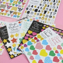 5pc Heart Digital Letter Flag Sticker Decor Paper Album Stickers DIY Handmade Diary Supplies Scrapbooking PVC Sticker Arts Craft