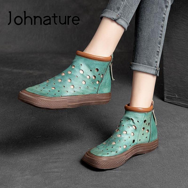 Johnature حقيقية أحذية من الجلد النساء الصنادل أحذية الصيف 2021 جديد ريترو كاندي الألوان شقة مع صنادل سيدات اليدوية جوفاء