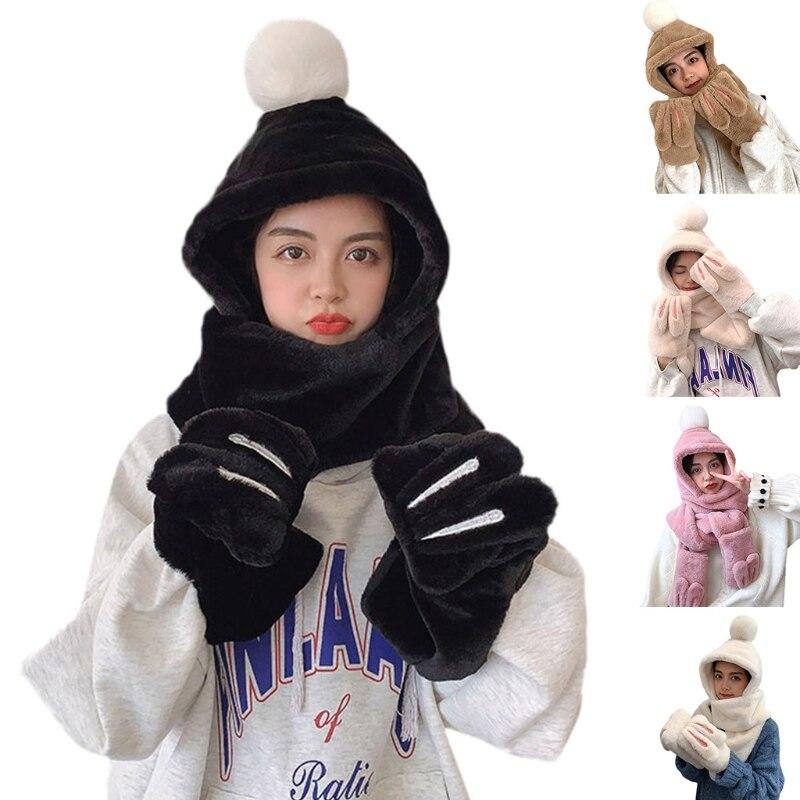 Осенне-зимний женский шарф с кроличьими ушками шапка плюшевые шарфы перчатки набор из трех толстых теплых шапок наборы