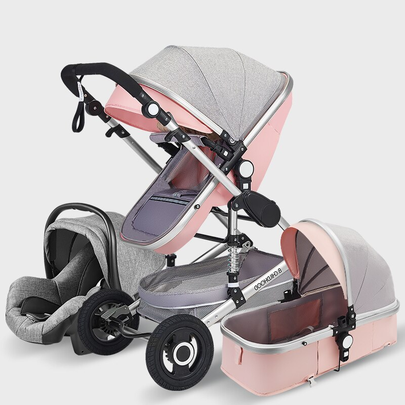 High Landscape Baby Stroller 3 in 1 With Car Seat Pink Stroller Luxury Travel Pram Car seat and Stroller Baby Carrier Trolley
