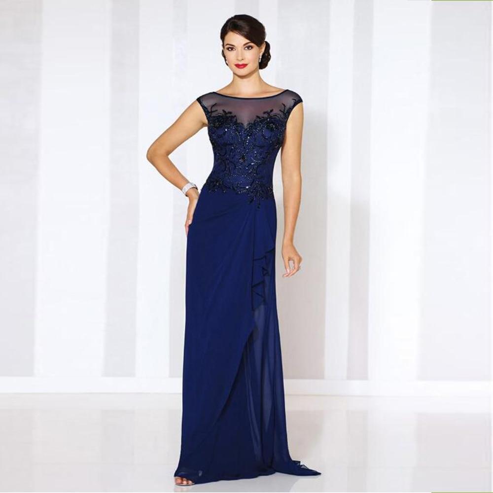 فستان أم العروس أزرق ملكي رائع ، رقبة قارب ، أكمام ، صد مطرز ، فستان زفاف ، 2021