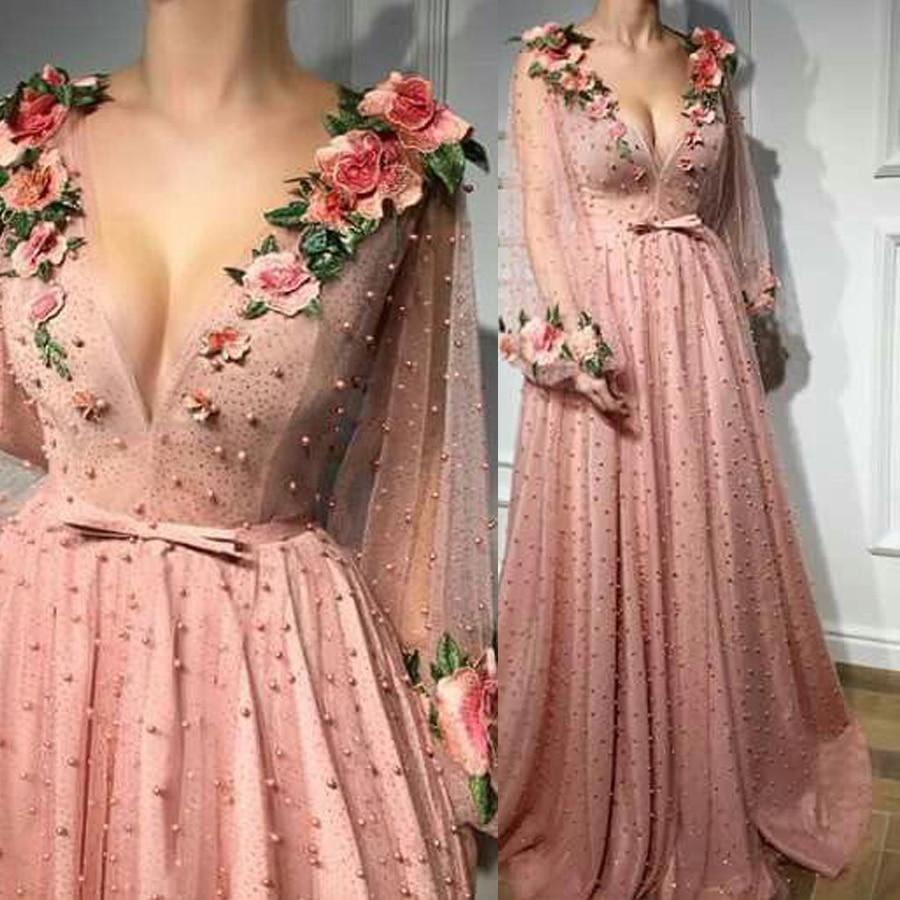 A-line Prom Dresses V Neck Pink Long Wedding Party Dress Evening Dresses 3D Flower Long Sleeves Evening Gowns Vestido De Festa недорого