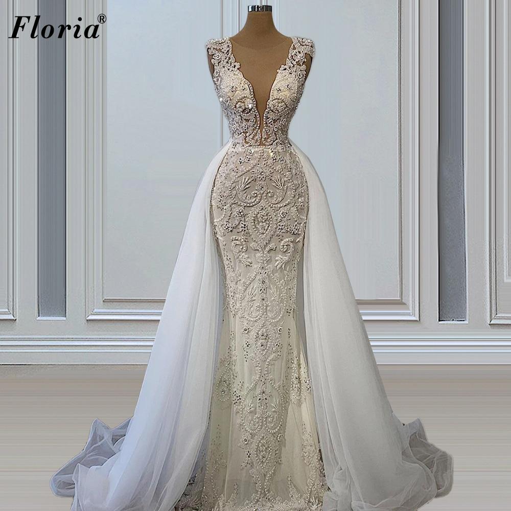 قطعتين حورية البحر فساتين الزفاف للنساء الخرز خمر شاطئ فساتين زفاف الأميرة فساتين زفاف Vestidos De Novia 2021
