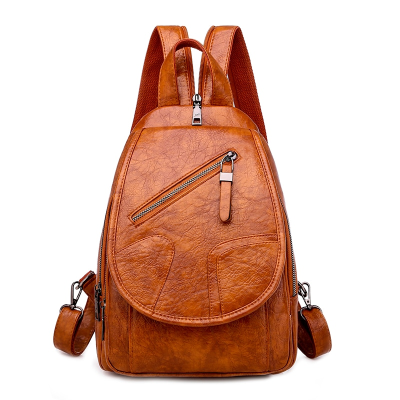 2020 Women Leather Backpacks High Quality Luxury Designer Bagpack Ladies Sac A Dos Female Pack Rucksacks For Girls Solid Travel