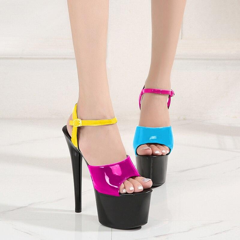 Женские туфли для зачистки каблуков, летние сандалии на платформе и высоком тонком каблуке 15 см, разноцветные пикантные водонепроницаемые ...