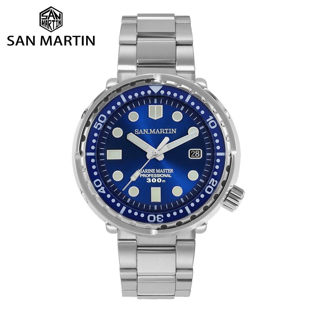 سان مارتن التونة التلقائي الميكانيكية غواص ساعة الرجال الفولاذ المقاوم للصدأ NH35 الياقوت المينا أشعة الشمس الأزرق مضيئة 300 متر الساعات