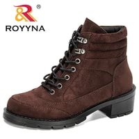 royyna 2021 new designers flock classics mid calf snow boots women lace up comfortable ladies winter soft boots chaussures femme