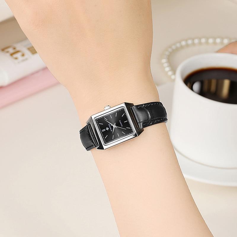 WWOOR Top Brand Luxury Women Square Watches Fashion Black Small Dial Quartz Wristwatch Ladies Dress Leather Watch Zegarek Damski enlarge