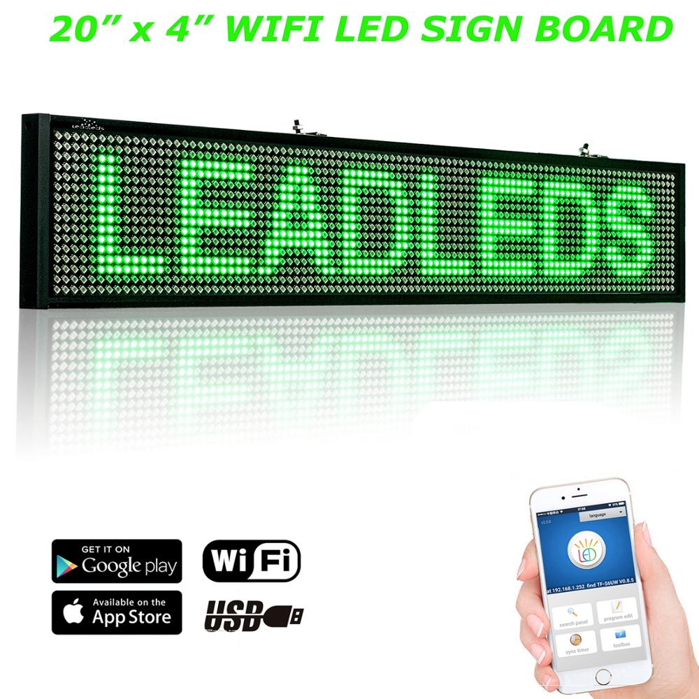 20inch P5 Wi-fi Scrolling LED Sign LED  Display Board Indoor Programmable Scrolling Text Message Advertising Screen Panel 96*16