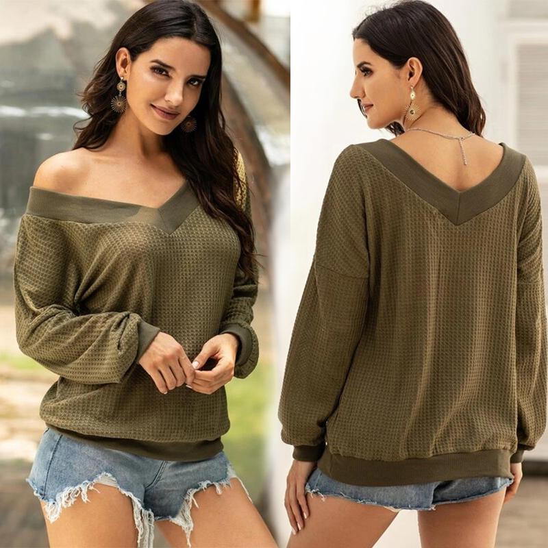 Camisa informal de manga larga para mujer, suelta, con hombros descubiertos, cuello en V, sin tirantes, a cuadros, camisas de punto