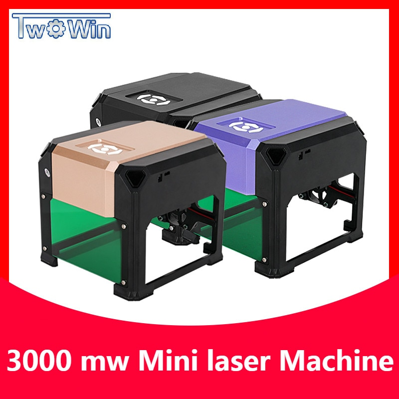 3000mw CNC lézergravírozó DIY logójel nyomtató vágó lézergravírozó gép famegmunkálás 80x80mm gravírozási tartomány 3W mini lézer