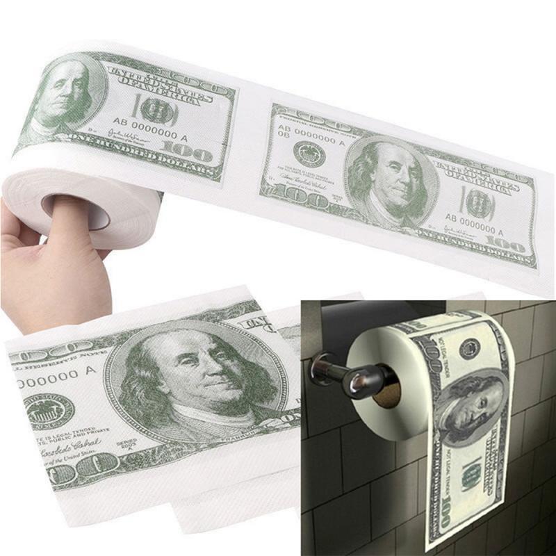 Hot $100 Dollar Humour Toilet Paper Bill Toilet Paper Roll Novelty Gag Gift Funny Gag Gift Kitchen Home Bathroom Garden Cocina
