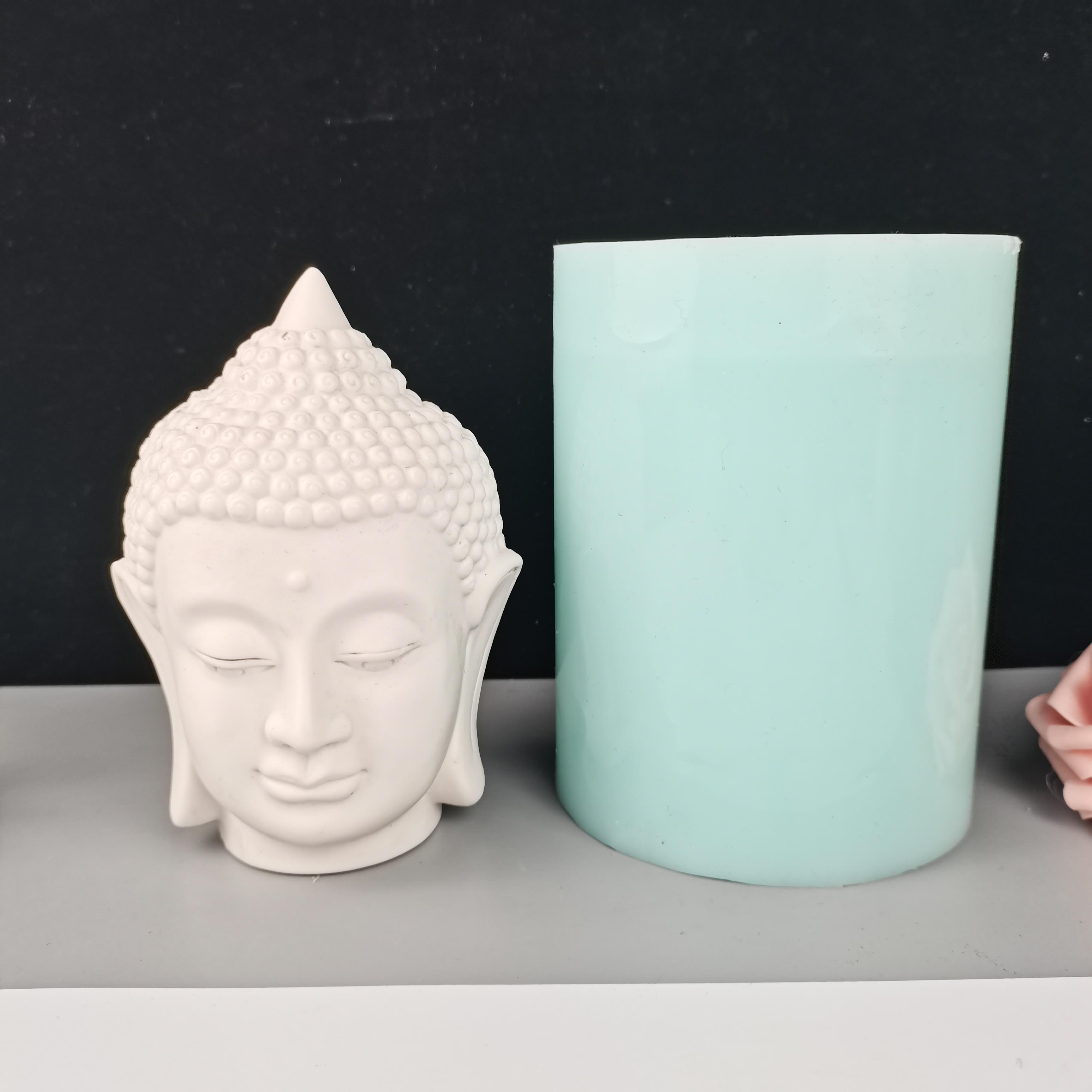 PRZY-قالب رأس بوذا من السيليكون ، تمثال جبس بلاستيكي ، زخرفة شمعة منزلية ، صابون ، رأس بوذا ، 2020