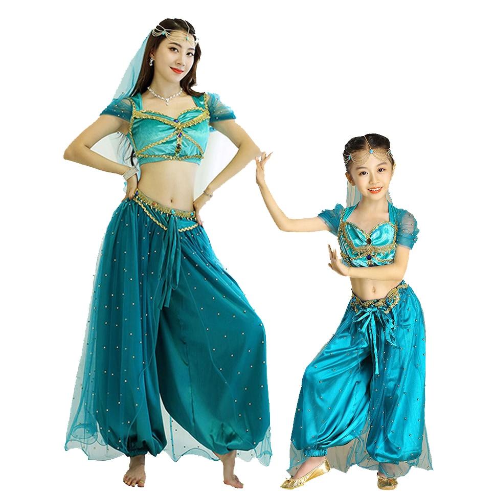 زي الأميرة العربية للبنات فستان حفلة عيد الميلاد هالوين الياسمين الأميرة يتوهم الزي 3 قطع مجموعة الحجاب بانت الأعلى