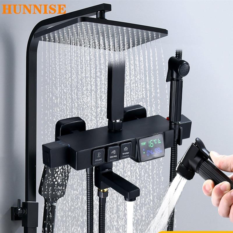 صنبور دش الحمام مع شاشة درجة الحرارة ، خلاط بمقبض واحد ، نظام دش مطري ثرموستاتي