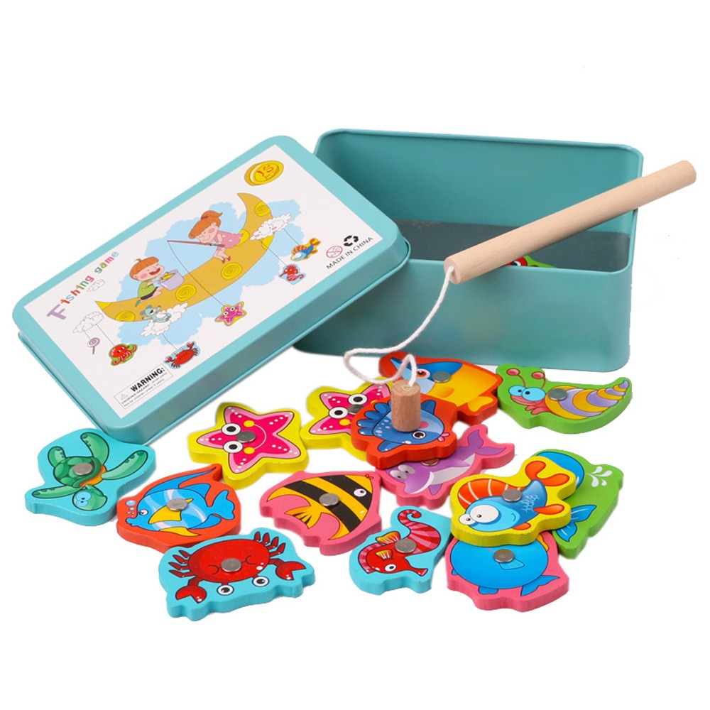 15 Uds juguete educativo de pesca para bebés, juguete de pesca magnético de madera, juego de pesca, cañas de pescar educativos, juguete #1225