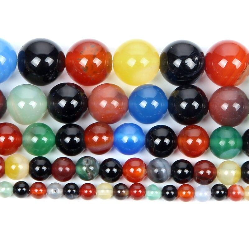 Naturstein Gemischten Farbe Achate Charme Runde Lose Perlen Für Schmuck Machen DIY Armband Halskette Strang 4 6 8 10 12 M