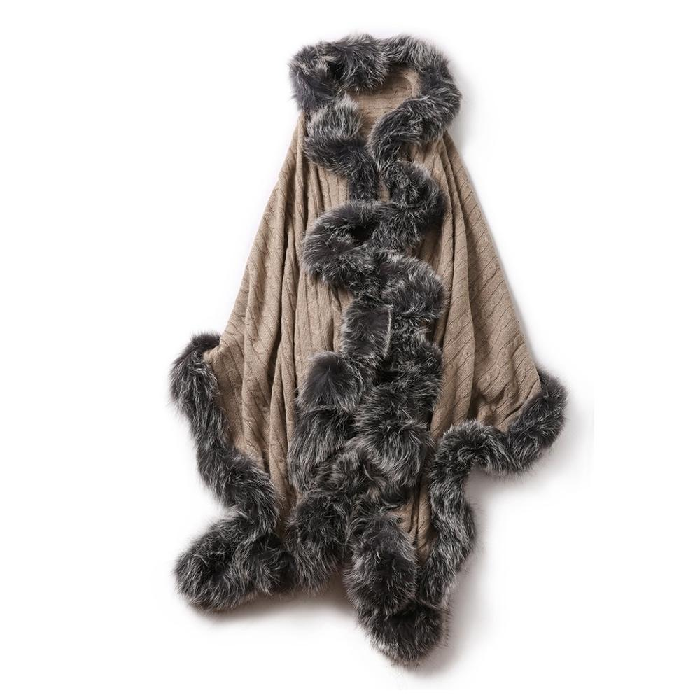 شال نسائي من الكشمير الخالص 100% ، معطف ، فرو الثعلب الأصلي ، لون كاكي ، S101