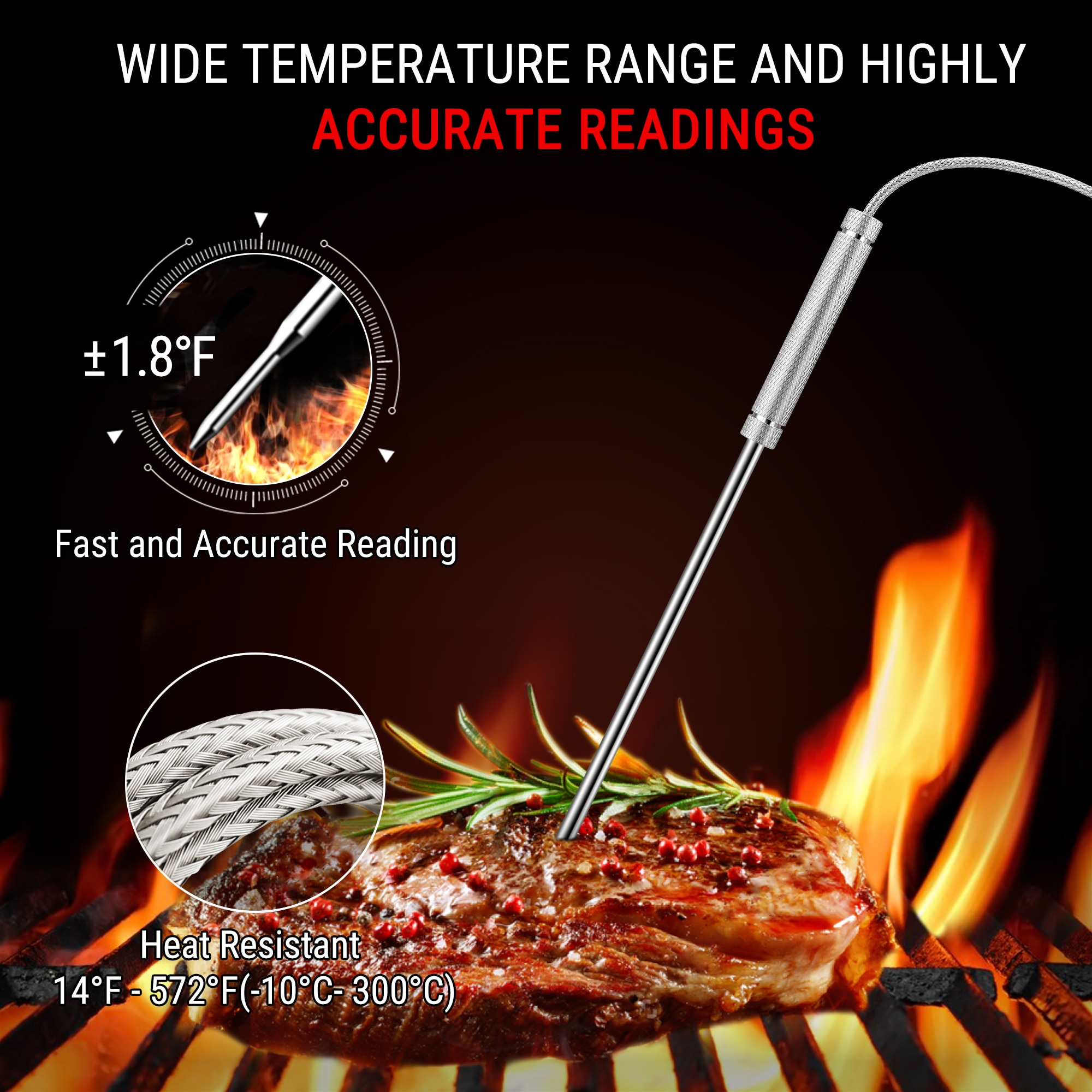 ThermoPro TP27C 4 Meat Probes 150M Wireless Digital Thermometer Kitchen Cooking Thermometer For Meat Oven Thermometer Backlight enlarge