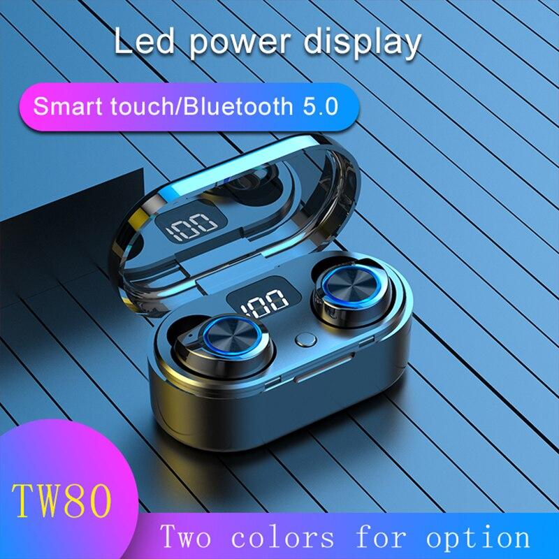 Bohm tw80 sem fio bluetooth 5.0 tws fone de ouvido toque mini fones com microfone caixa carregamento esporte para smartphone