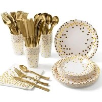 new style gold dinnerware dotted pattern disposable paper plates napkins cups party tableware for wedding tableware supplies