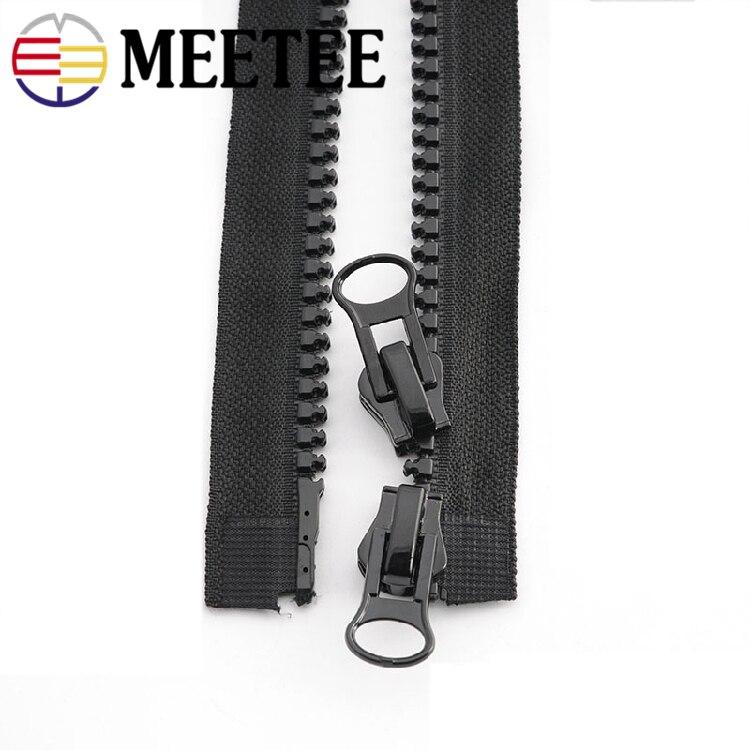 Купить с кэшбэком 2pcs Meetee 8# Resin Zipper 60-200cm Double Sliders Down Jacket Coat Tent Awning Open End Zippers Sewing Clothing Accessories