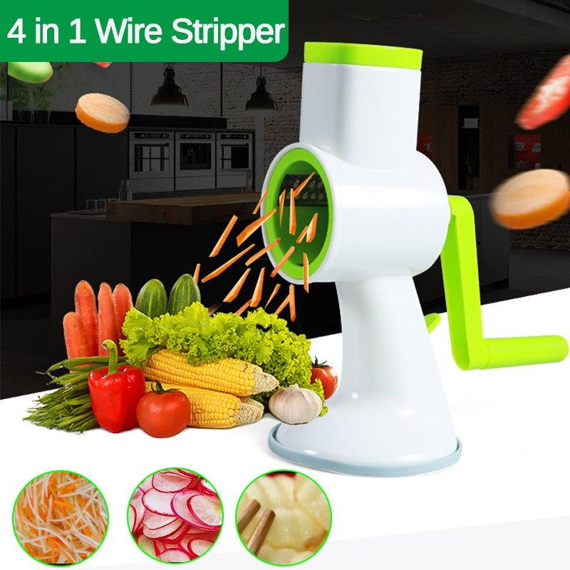Cortadora multifuncional Manual de verduras 4 en 1, rebanadoras espiralizadoras de verduras, rebanadoras de patatas, utensilios de cocina, procesadores de alimentos