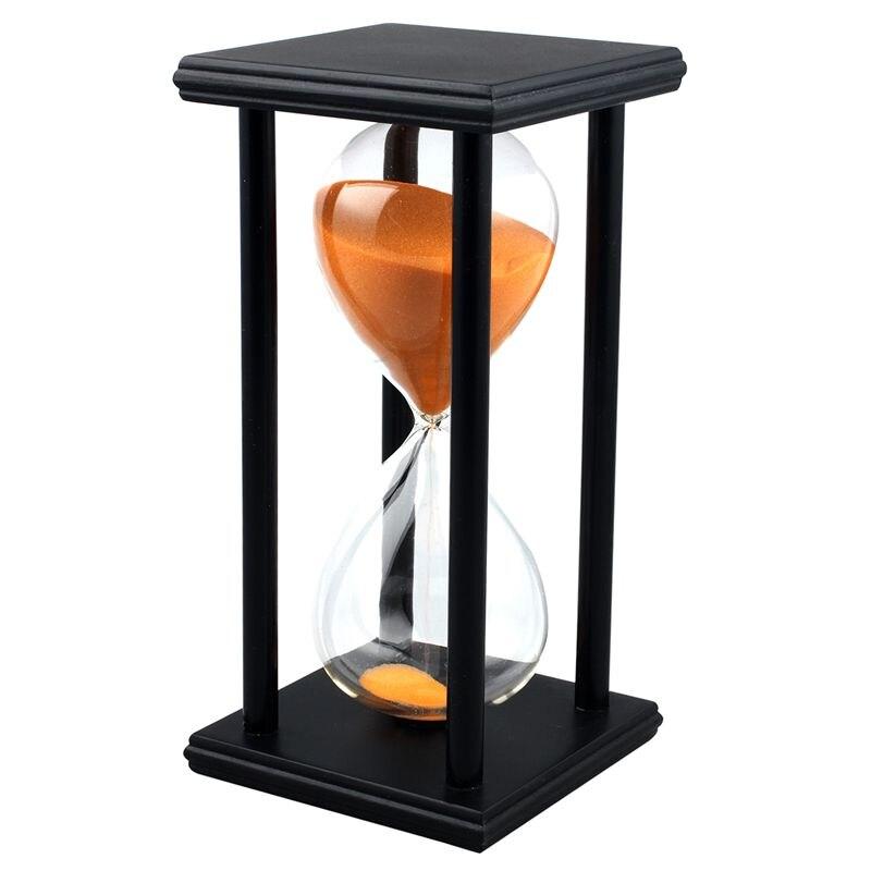 HOT-Colors! 60Min Wooden Sand Sandglass Hourglass Timer Clock Decor Unique Gift Type:60Min Black Frame Orange Sand
