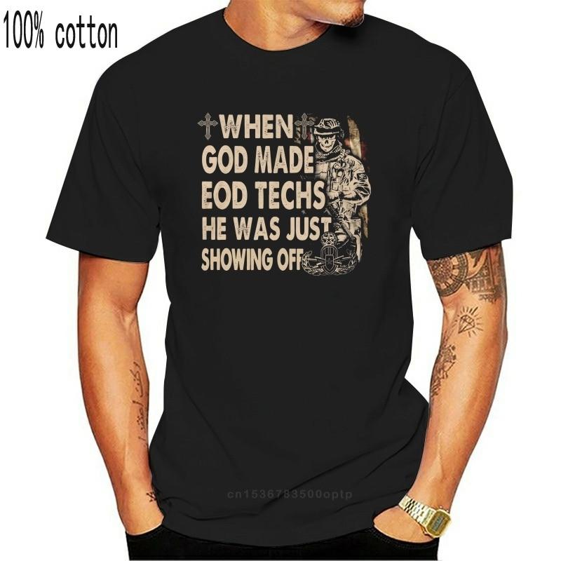 Camiseta masculina eod tech eodtech63 27 quando deus fez job women tshirt