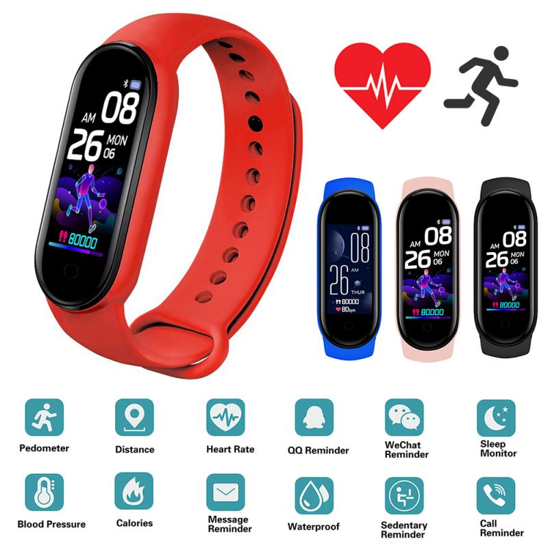 M5 Smart Watches Smart Band Sport Fitness Tracker Pedometer Heart Rate Blood...
