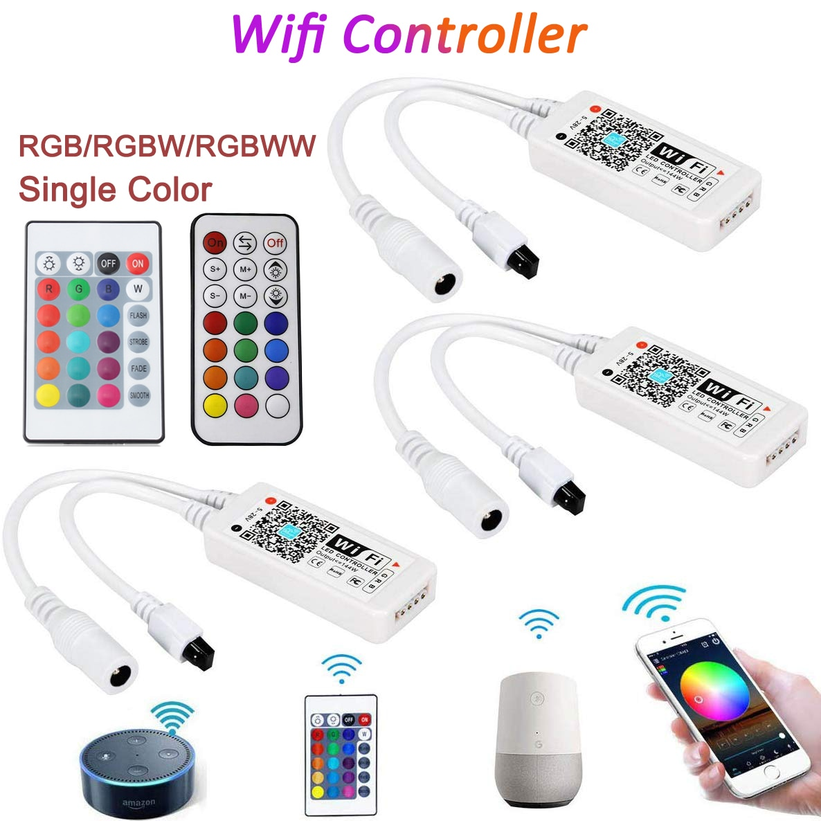 DC5V 12V 24V RGB Led Wifi Controller RGBW RGBWW Bluetooth WiFi LED controller For 5050 2835 WS2811 W