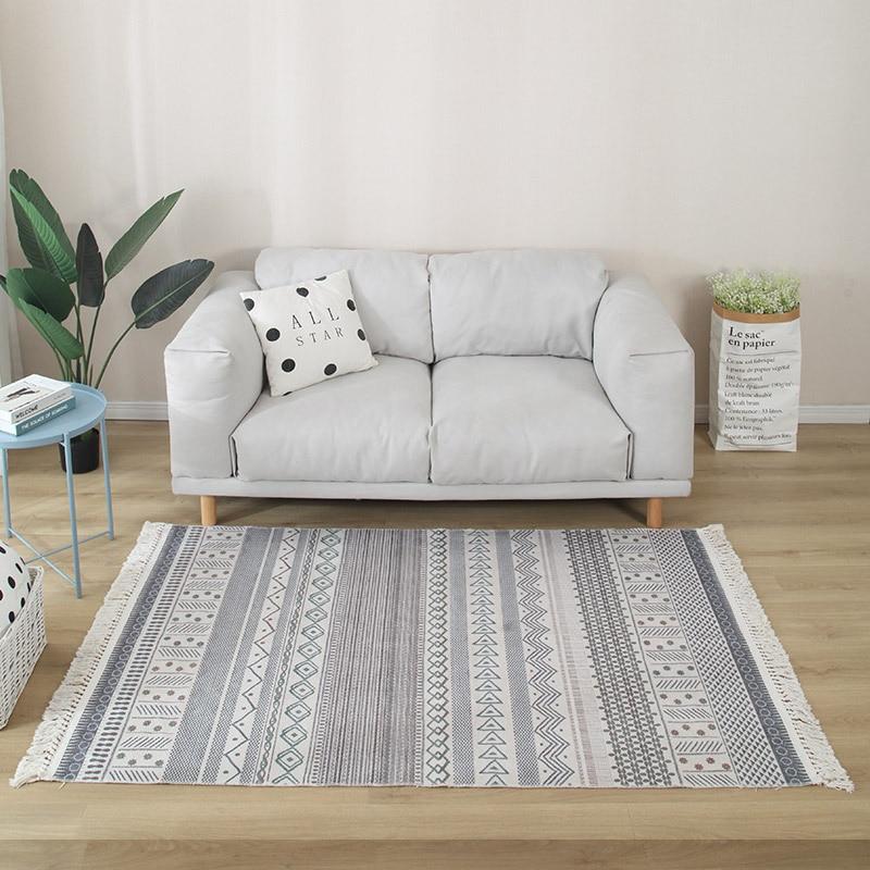 Nordic Böhmischen Baumwolle Teppiche und Teppich für Home Wohnzimmer Indien Handwoven Nacht Decke Bereich Teppich Schlafzimmer Matte für Sofa fenster