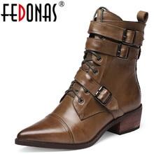 FEDONAS Vintage femme Western bottes qualité en cuir véritable femmes bottines chaussures de fête femme hiver boucle Chelsea bottes