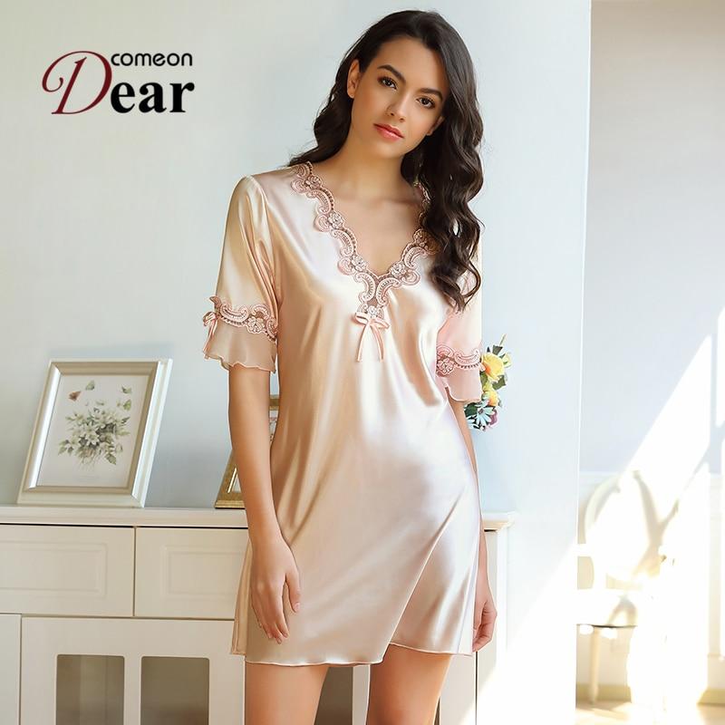 Comamondear Sexy Sleeping Dress Lencería de manga corta camisón de satén de seda cuello en V para mujer camisón de verano R80882