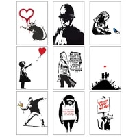 banksy girl graffiti canvas painting red balloon picture black and white wall art posters and prints nordic home decor frameless