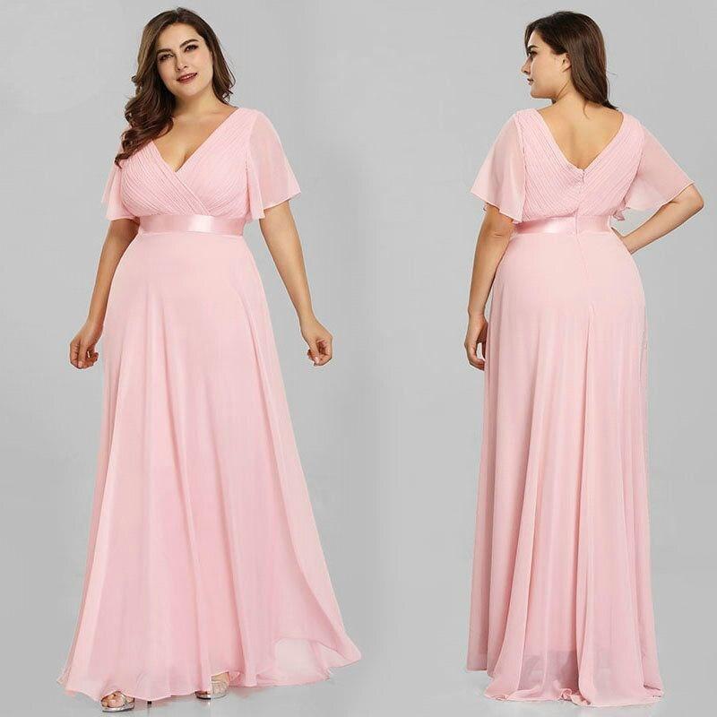 Элегантные вечерние платья Ever Pretty с V-образным вырезом, размера плюс
