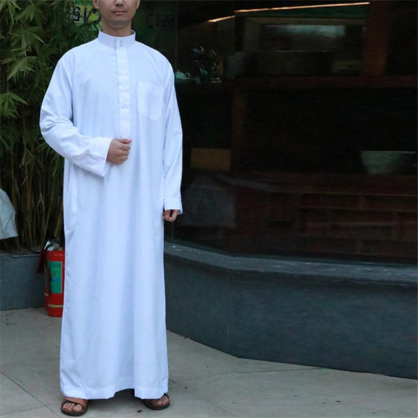 Arabia Saudita de manga larga Abaya islámico ropa hombres vestido largo Kaftan musulmán ropa para hombres Pakistán Pray de talla grande Jubba Thobe