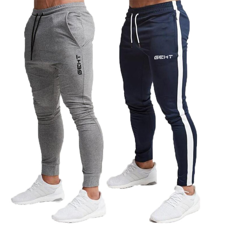 2019 Fashion Men Gyms Pants Joggers Fitness Casual Long Workout Skinny Sweatpants Jogger Tracksuit Cotton Trousers