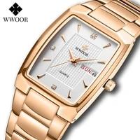 wwoor 2021 new mens watches with stainless steel luxury brand square quartz watch men automatic week date waterproof wrist watch