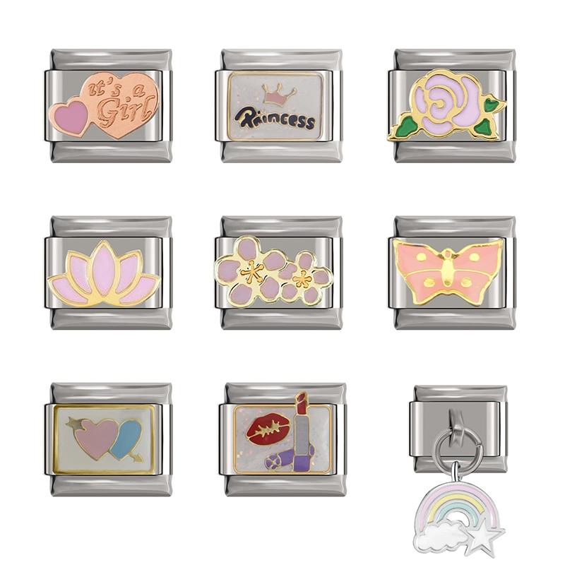 Hapiship original daisy flor princesa arco-íris coração italiano charme links apto 9mm pulseira de aço inoxidável jóias diy djtop16
