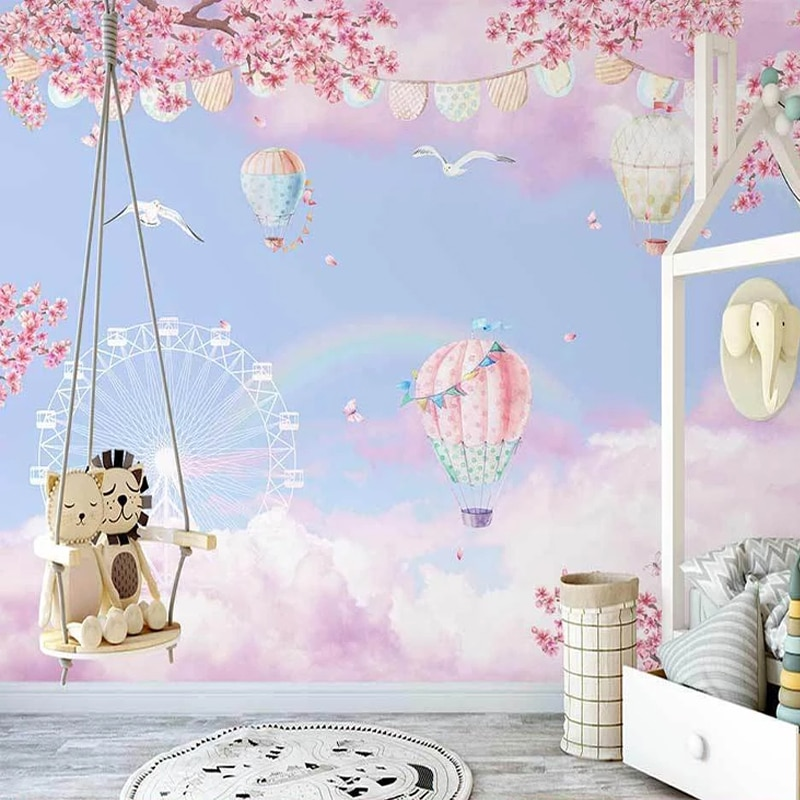 Custom Photo Wallpaper 3D Hand-painted Dream Cloud Paradise Hot Air Balloon Children's Room Mural Creative Papel De Parede 3 D