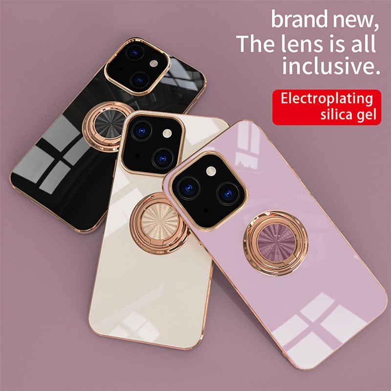 Luxury Plating Ring Holder Phone Case for iPhone 13 12 11 Pro XS Max XR X 12Mini 6 7 8 Plus SE 2020